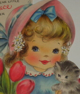 "Vintage greeting card, sweet girl and her cat, Easter Hallmark 4 1/2"" used"