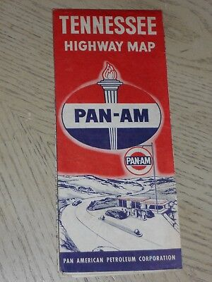 RARE 1947 Pan-Am Oil Gas Tennessee State Highway Road Map Standard Amoco KY TN