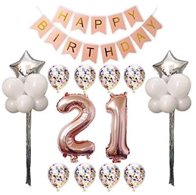21st Birthday Party Decorations Balloons Banner Rose Gold 30pcs Set Giant Large