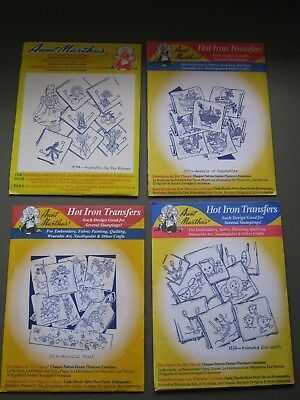 Aunt Martha's Hot Iron Transfers Lot of 4. Fruits, Veggies and Dishes