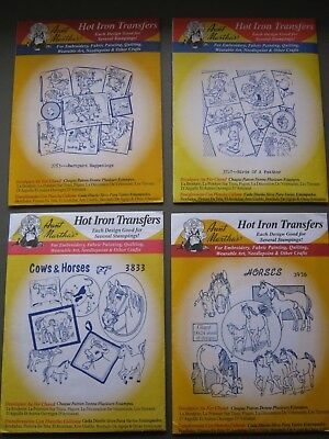 Aunt Martha's Hot Iron Transfers Lot of 4. Horses, Cows, Birds, Roosters