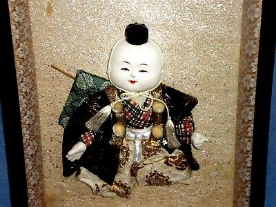 "Darling RARE Old Japanese Gosho Doll in 3D Shadow Boxed Framed 13"" X 10.5"""