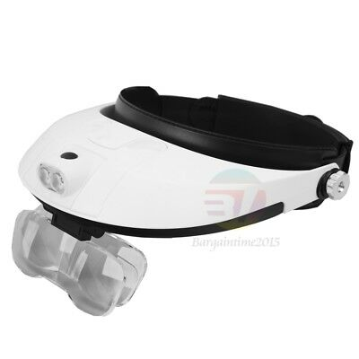 2 LED Head-Mounted Lamp Light Jeweler Magnifier Magnifying Glass Loupe Headband