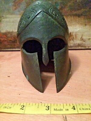 Antique Greek Miniature Bronze Corinthian Helmet small Grand Tour item