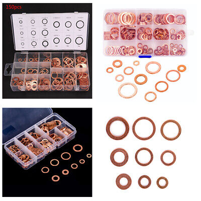 150-300pc Copper Washer Gasket Set Flat Ring Seal Assortment Kit with Box