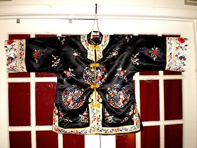 NICE Old Chinese Black Silk Jacket/Robe Embroidered Fish Women Shells Sword-more