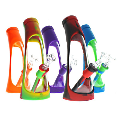 Horn Beaker Bong Unbreakable Silicone Water Pipe with Herb glass Bowl as gift