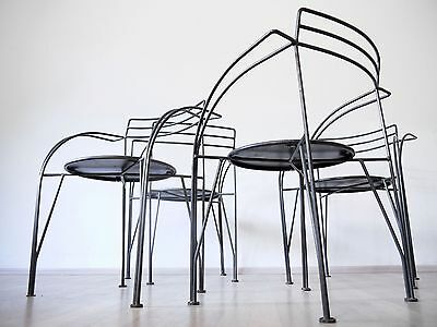 1of4 PASCAL MOURGUE 80s 90s BISTRO GARDEN TERRACE PATIO CAFE METAL CHAIRS