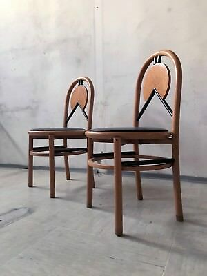 1of6 VINTAGE 80s POST MODERNIST ITALIAN WOODEN DINING CHAIRS MEMPHIS MILANO ERA