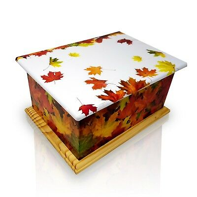 Cremation urn for ashes Funeral Memorial Large wood casket Urn Autumn Leaves NEW