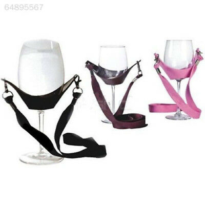 6B4D Portable Wine Yoke Lanyard Glass Holder Straps Black Birthday Gifts Present