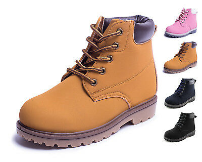 1e7f5c3591f2 Kids Casual Lace-Up Ankle Work Boots Boys Girls Shoes Brown Black Navy  Hawkwell