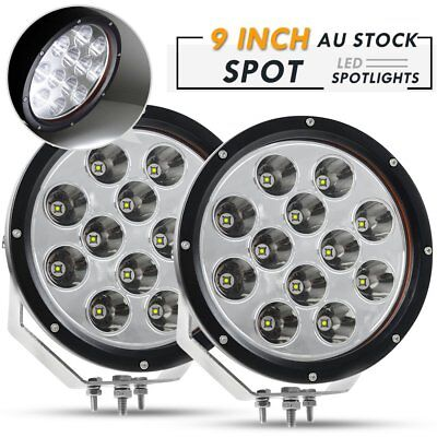 Pair 9inch CREE LED Driving Lights Spotlights Round Combo Work Offroad Truck SUV