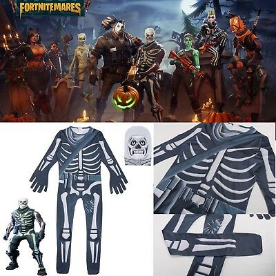 Halloween Fortnite Skull Trooper Cosplay Costume Unisex Jumpsuit Fancy Dress