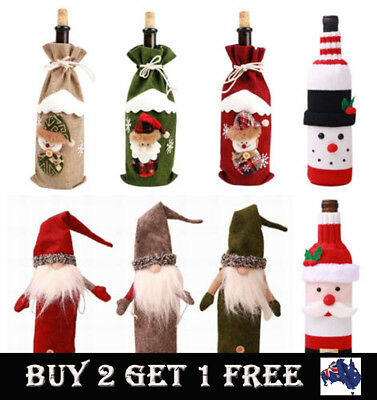Christmas Wine Bottle Cover Clothes Candy Bag Xmas Santa Snowman Grid Home Decor