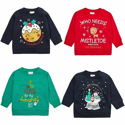 Infants Christmas Jumpers Novelty Slogan Fun Sweaters Glitter Xmas Tops Size