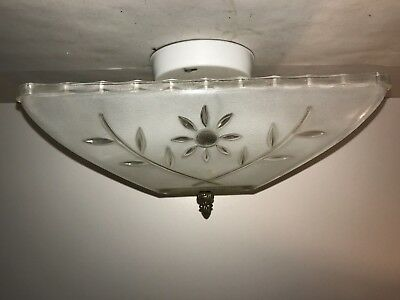 Antique frosted square glass Art Deco light fixture ceiling chandelier flush