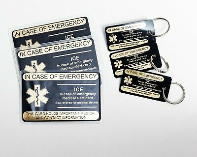 ICE Medical alert ID wallet cards with protectors - Gold on Black Card,Set of 2.