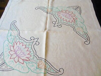 Vintage, Stunning Hand Embroidered Tablecloth, Deep Yellow Linen, 35 x 35 inches