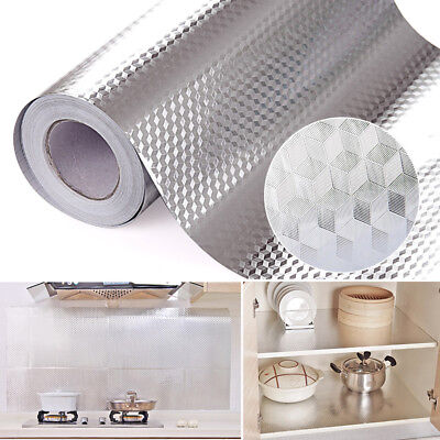 Aluminum Foil Self Adhesive Waterproof Wallpaper Kitchen Sticker Diy Home Decor