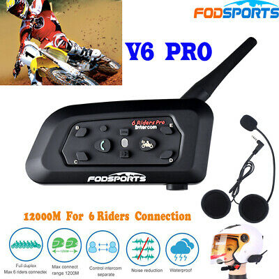 V6 1200M Motorcycle Helmet Interphone Bluetooth Intercom GPS Headset Mic/Speaker