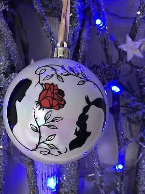 Disney Inspired  Pearlised Beauty And The Beast Christmas Bauble.
