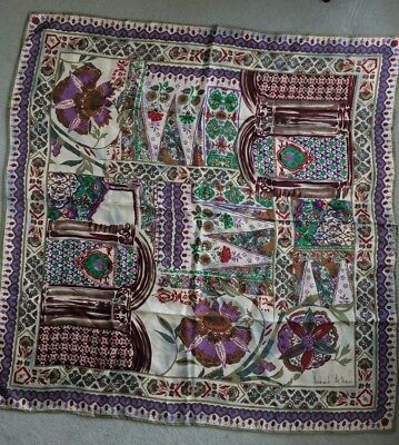 "Vintage 100% Silk Richard Allan Large Moroccan Scarf Hand Rolled Edges 34""x34"""