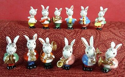 Vintage Miniature Wood Easter Bunny Rabbit Band Orchestra Figures Italy Italian