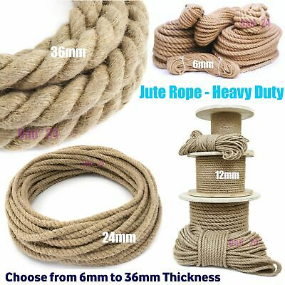 Natural Jute Rope Twisted Decking Garden Cord Boating Thick Thread Gym 6-36mm
