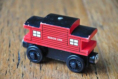 THOMAS & FRIENDS SET Wooden Railway Engine Carriage Sodor Line Red CABOOSE Excel