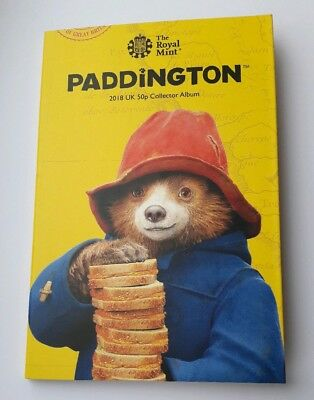 Royal Mint 2018 Paddington Bear 50p Fifty Pence Coin Album Folder - New