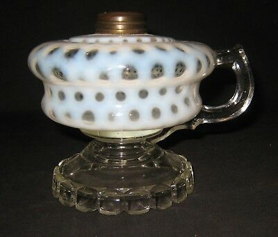 Kerosene Oil White Opalescent Coin Dot Footed Finger Lamp #1 Brass Collar