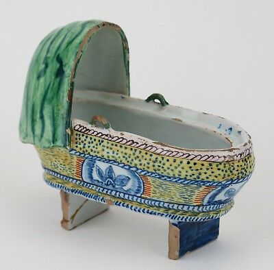 19th century French faience pottery christening cradle