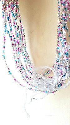 African Waist Beads 3 strands pea set   glass silver ,pink and blue