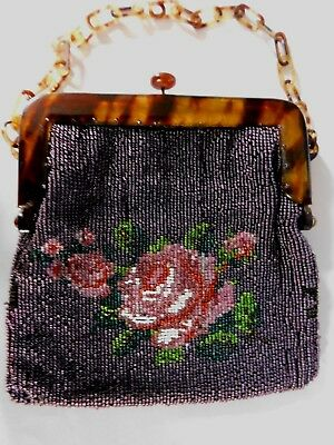 Antique Bead Work Purse / Handbag With Faux T/shell Frame And Handle