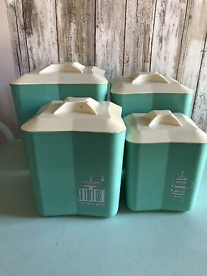 1950's Vintage Plastic Canister 4 piece Set Teal and Silver