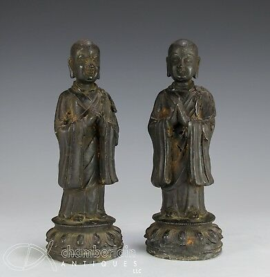 Pair Of Antique Chinese Ming Dynasty Bronze Statues Of Standing Figures