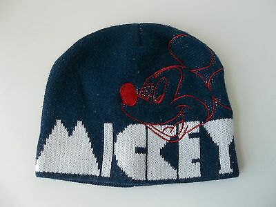 Disney Mickey Mouse Knit Beanie Cap Blue White Hat Youth Boys