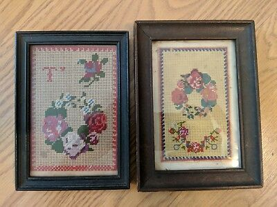 2 Antique American Berlinwork Needlepoints 19th Century