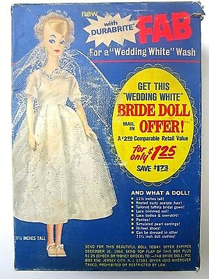 Vtg FAB Laundry DETERGENT W/Durabrite BRIDE Doll OFFER Barbie BILD Lilli BOX