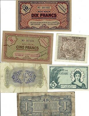 Lot of 6 World War II era world military currency notes, England, France, Japan