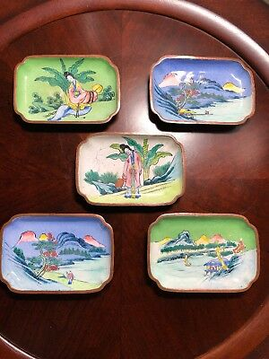 Set 5 Antique Hand Painted Enameled Copper Chinese Trinket Trays Small Dishes