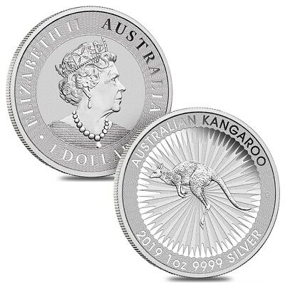 Lot of 2 - 2019 1 oz Australian Silver Kangaroo Perth Mint Coin .9999 Fine BU