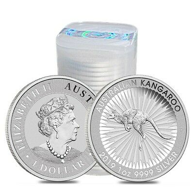 Roll of 25 - 2019 1 oz Australian Silver Kangaroo Perth Mint Coin .9999 Fine BU