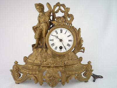 94 OLD ANTIQUE FIREPLACE MANTEL CLOCK working  FRANCE 1850 beauty home decor