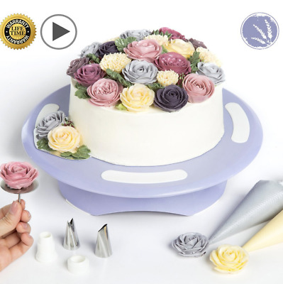Cake Turntable Rotating Stand Decorating Non Slip Base with Flower Making Kit