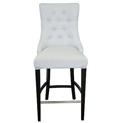 Silver Grey Fabric Tufted Counter Stool w/Brushed Silver Nail Head