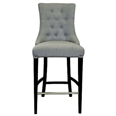 Slate Grey Fabric Tufted Counter Stool w/Brushed Silver Nail Head