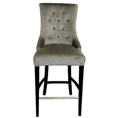 Grey Gunmetal Velvet Fabric Tufted Counter Stool w/Brushed Silver Nail Head Trim