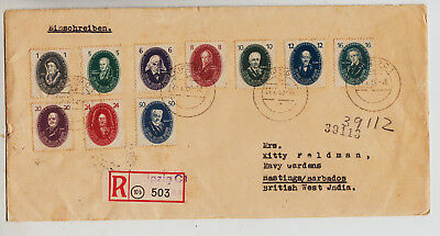 + Seltener Reco Auslandsbrief Mit Mif Leipzig Hastings/british West India 1950 +